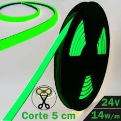 Neón Flex LED 24V 14,5W IP65 Alta Potencia Luz Verde encendido y datos técnicos