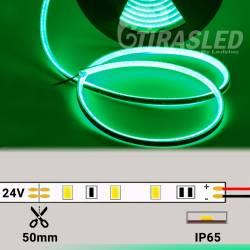 Neón Flex LED 24V 14,5W IP65 Alta Potencia Luz Verde encendido y desenrollado y con medidas de corte