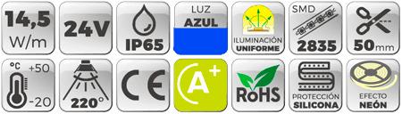 Neón Flex LED 24V 14,5W IP65 Alta Potencia Luz Azul Botones de características