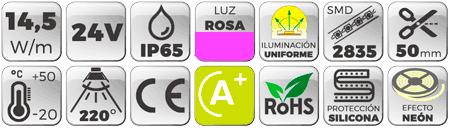 datos técnicos de Neón Flex LED 24V 14,5W IP65 Alta Potencia Luz Morada