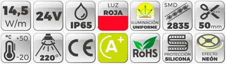 Neón Flex LED 24V 14,5W IP65 Alta Potencia Luz Roja Botones de características