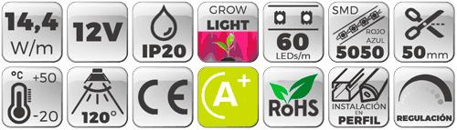TIRA LED 12V 14,4W 60 LEDs/M 5050 GROW LIGHT - luz led de crecimiento de plantas