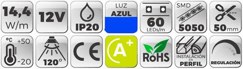TIRA LED 12V 14,4W 60 LEDs/M 5050 LUZ AZUL