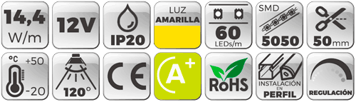 TIRA LED 12V 14,4W 60 LEDs/M 5050 LUZ Ambar - Amarillo