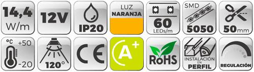 TIRA LED 12V 14,4W 60 LEDs/M 5050 LUZ NARANJA