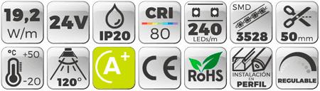 TIRA LED DOBLE 24V 19,2W 240 LEDs/M 3528 3000K  Botones de características