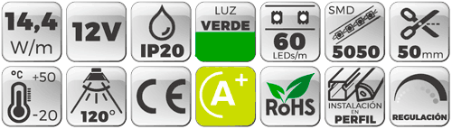 Tira LED 12V 14,4W IP20 Luz Verde