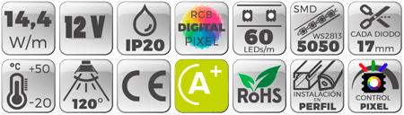 Tira LED 12V 5050 IP20 con 60 Leds x metro IP20 digital pixel RGB datos técnicos