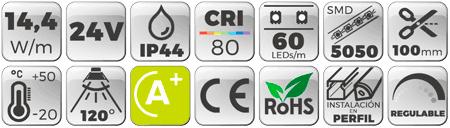 Tira LED 24V 14,4W 60 LEDs/m 5050 IP44 3000K  Botones de características