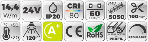 Tira LED 24V 14,4W 60 LEDs/m 5050 3000K