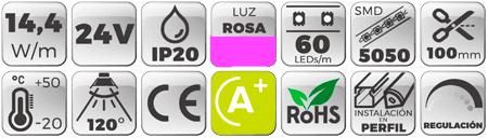 Tira-LED-24V-14,4W-IP20-Luz-Violeta-Rosa. Botones de características
