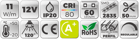 Tira LED 24V 14,4W IP44 Luz Blanca 6000K Botones de características