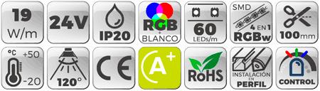 Tira LED 24V 19W 60 LEDs/m IP20 RGB + Blanco 6000K  Botones de características