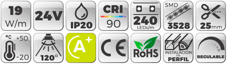 Tira LED 24V 19W IP20 Luz Cálida 3000K CRI90