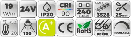 Tira LED 24V 19W IP20 Luz Neutra 4000K CRI90