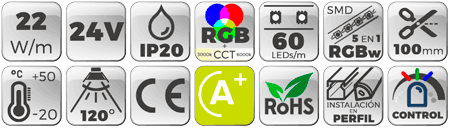 Tira LED 24V 22W IP20 RGB + 3000K a 6000K Botones de características