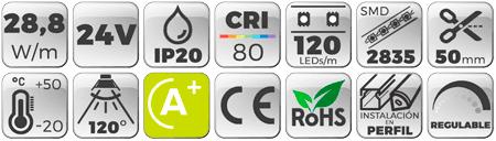 Tira LED 24V 28,8W IP20 Luz Cálida 3000K