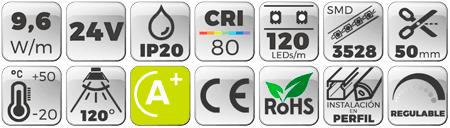 Tira LED 24V 9,6W 120 LEDs/m 3528 6000K
