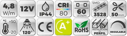 Tira LED 4,8W/m 12V 60 LEDs/M 3528 Luz Cálida 2700K