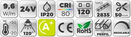 Tira LED Slim 4mm 24V 9,6W IP20 Luz Blanca 5000K Botones de características