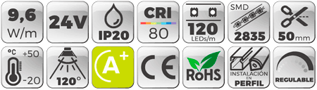 Tira-LED-Slim-4mm-24V-9,6W-IP20-Luz-Cálida-3000K Botones de características