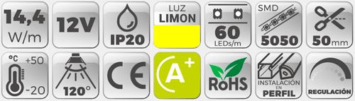 datos te´cnicos tira de led 12V amarillo limón