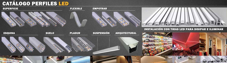 Perfiles de aluminio para tiras LED de todo tipo para incorporar las tiras de LED en cualquier reforma, de esquina, empotrar, colgantes ,de superficie, para pladur, flexible, etc