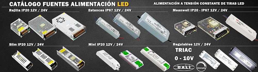 Fuentes de alimentación para tiras y neón LED, para voltajes de 12v y 24v, estancas para uso en exterior, minis y slim para espacios reducidos