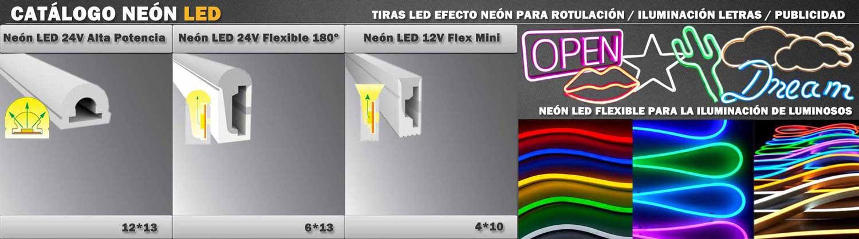 Neón de LED para letreros creativos,flexibles para exteriores e interiores, para realización de letras, alta potencia, 12V y 24V, flexibles, con protección IP, muchos colores y también de tamaño mini.